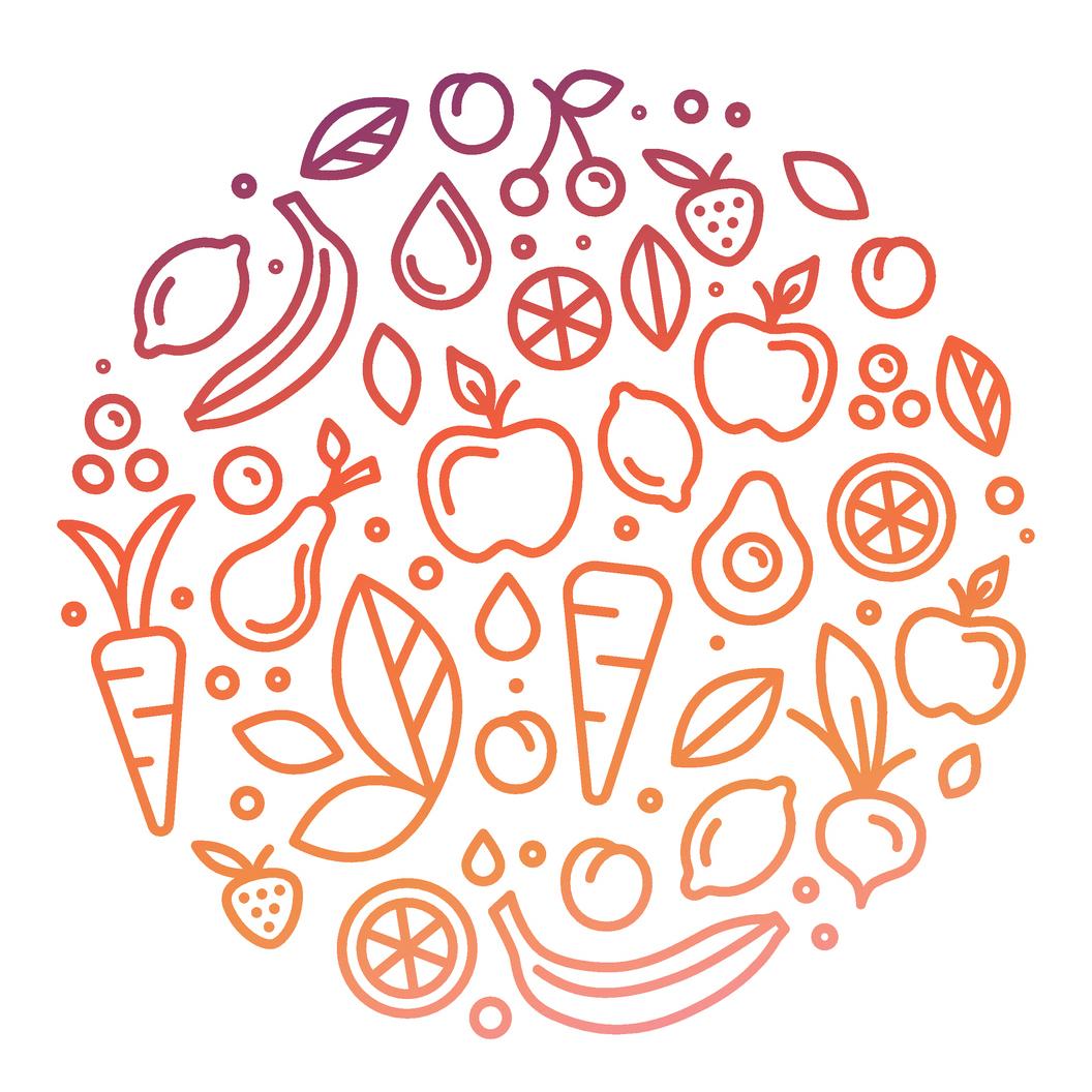 Früchte Gemüse Kreis