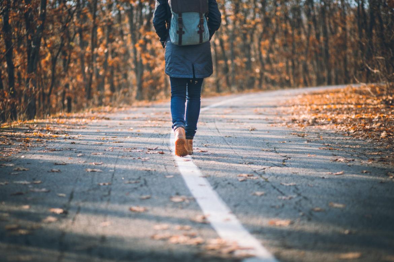 Rückenansicht einer jungen Frau beim Wandern
