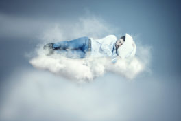 Mann Wolke Schlaf