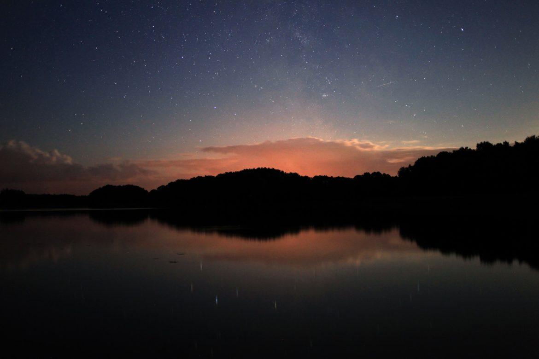 Sonnenuntergang Reflektion Bäume See