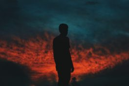 Mann Silhouette Dunkel Abendrot