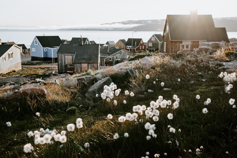 Häuser in Grönland mit Landschaft im Vordergrund
