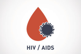 HIV-Logo, Blutstropfen, Aids