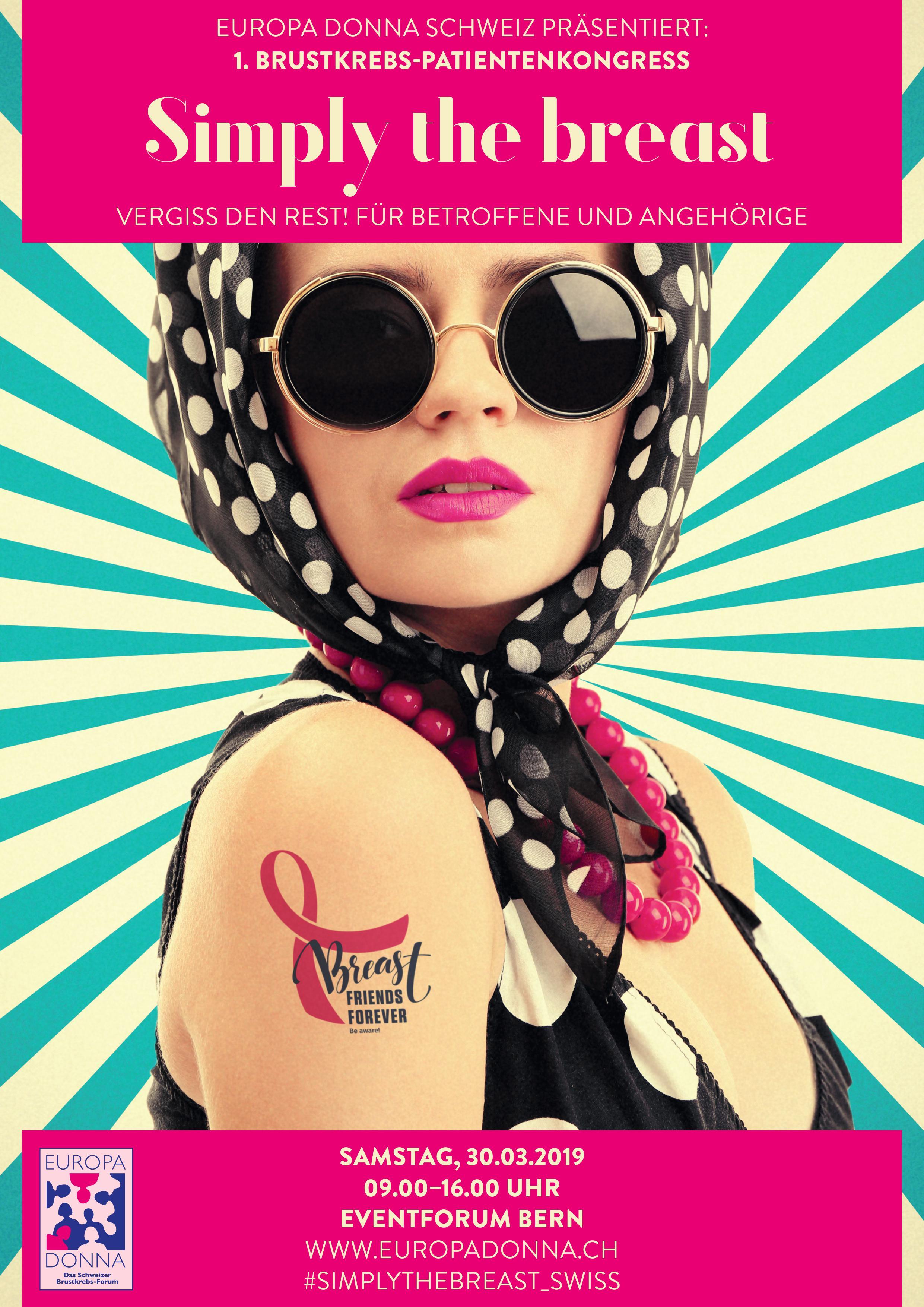 Simply the breast Flyer mit Pin Up Girl im 50er Jahre Stil mit gepunktetem Kopftuch und Sonnenbrille.