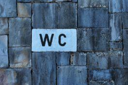 WC-Schild an Wand