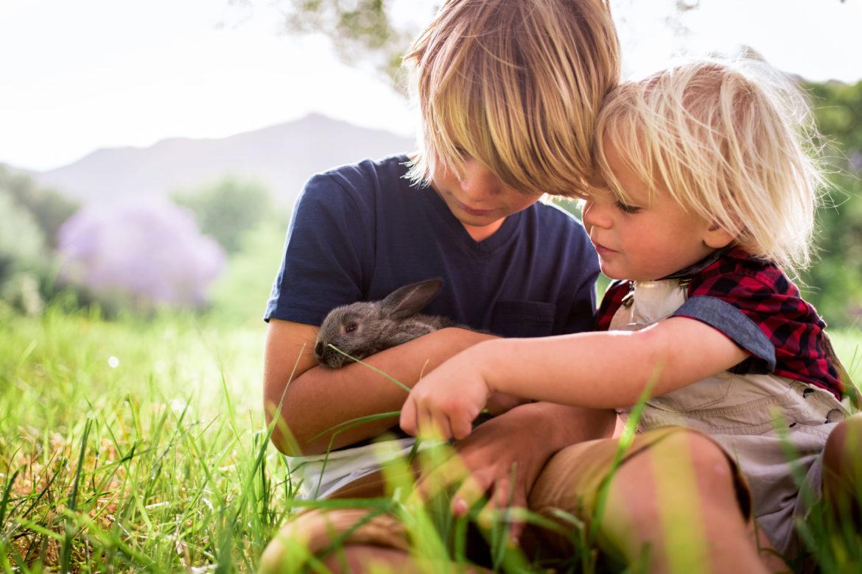 Kinder mit Hase