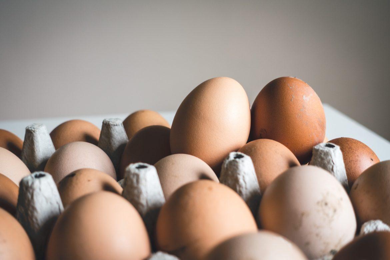 Ein grosser Eierkarton mit vielen braunen Eiern.