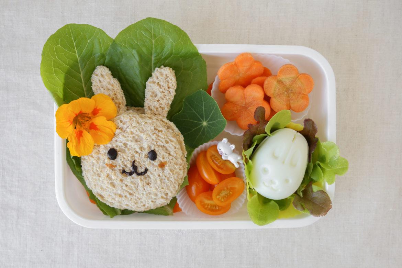 Brotdose mit Hasenbrot und Salat - Znüni