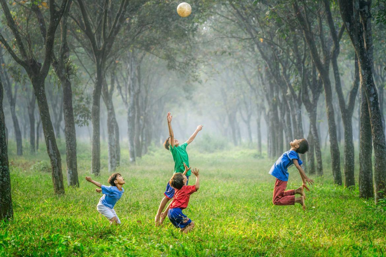 Kinder spielen in Wald