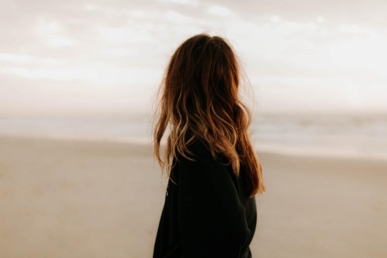 Frau, Strand, Haare, schwarz